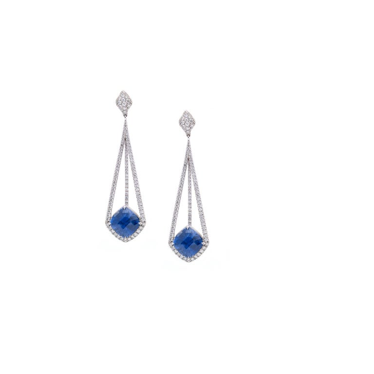 Modern 18 Karat White Gold Earrings with Diamonds and GIA Certified Blue Sapphires For Sale