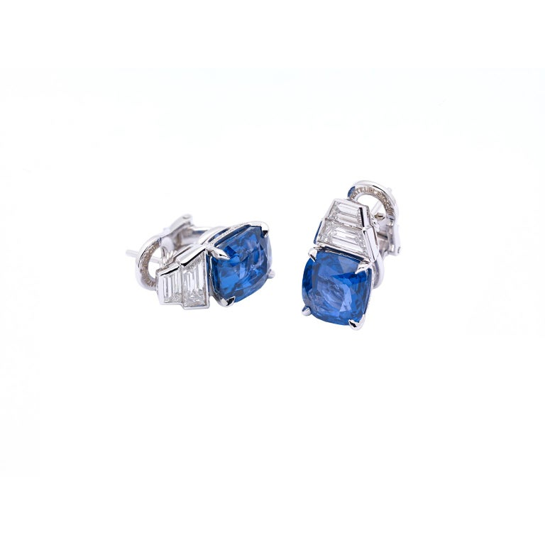 Modern 18 Karat White Gold Earrings with Diamonds, Ceylon and Burma Certified Sapphires For Sale