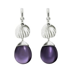 18Kt White Gold Fig Cocktail Earrings with Amethysts and Diamonds by the Artist