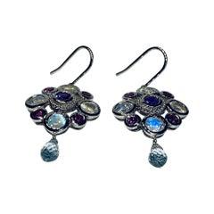 18kt White Gold Earrings with Moonstone, Garnet, Amethyst & Sapphire