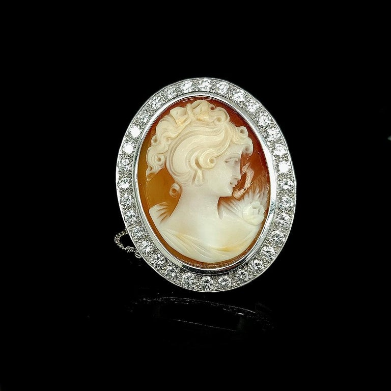 18 Karat White Gold French Victorian Style Cameo Brooch with Large Diamonds For Sale 5