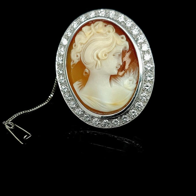 18 Karat White Gold French Victorian Style Cameo Brooch with Large Diamonds For Sale 6