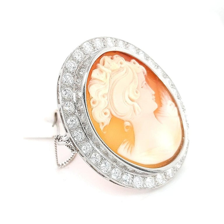 Women's or Men's 18 Karat White Gold French Victorian Style Cameo Brooch with Large Diamonds For Sale