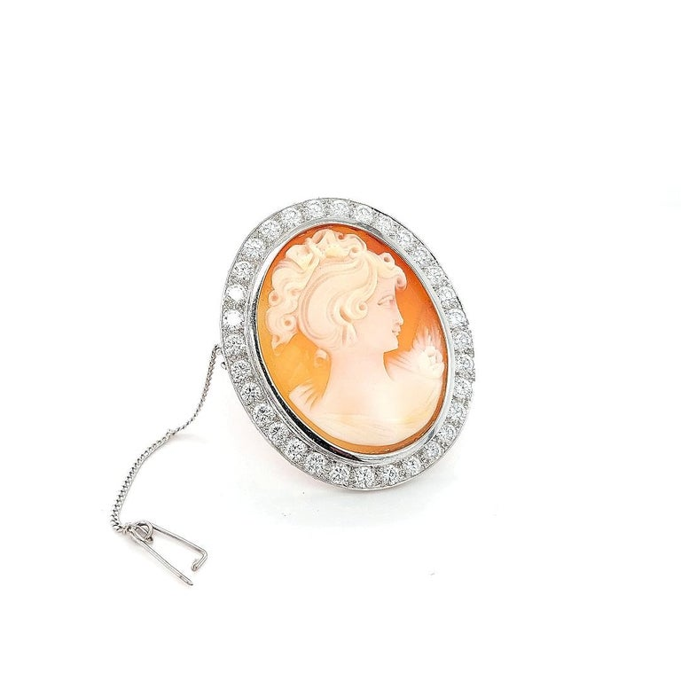 18 Karat White Gold French Victorian Style Cameo Brooch with Large Diamonds For Sale 2