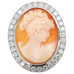18 Karat White Gold French Victorian Style Cameo Brooch with Large Diamonds
