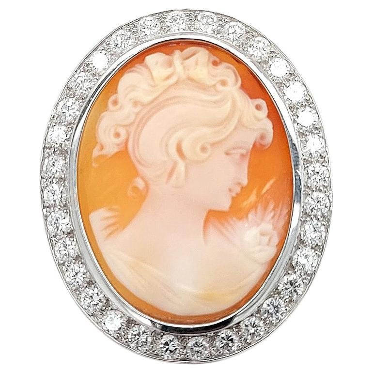 18 Karat White Gold French Victorian Style Cameo Brooch with Large Diamonds For Sale