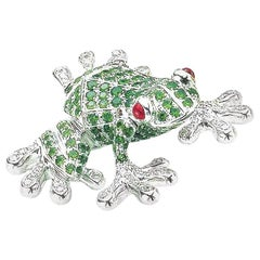 18 Karat White Gold Frog Brooch with 1.70 Carat Tsavorite, Diamond, and Ruby