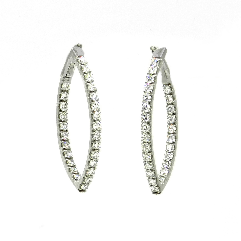 18 Karat White Gold Marquise Shape Diamond GARAVELLI Earrings