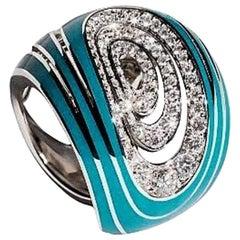 18 Karat White Gold Green Enamel 1.12 Carat White Diamonds Band Ring
