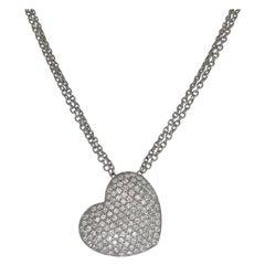 18kt White Gold Heart Shape Necklace with 4.96 Ct.Brilliant Cut Diamonds Pavé