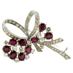 18 Karat White Gold Ladies Brooch with Natural Thai Rubies and Diamonds