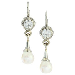 18kt White Gold Ladies Clip-On Earrings with Cultured Pearls and Diamonds