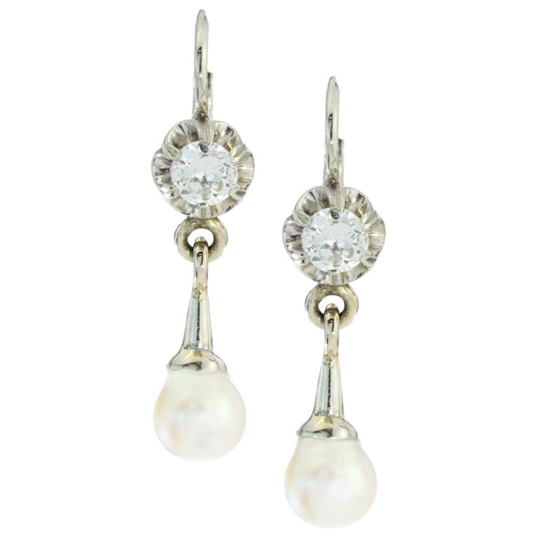 18kt White Gold Ladies Clip-On Earrings with Cultured Pearls and Diamonds For Sale