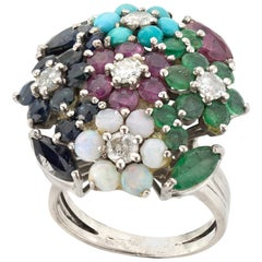 18 Karat White Gold Ladies Dome Ring with Diamonds Emeralds Sapphires Opals Ruby