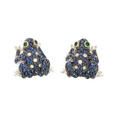 18kt White Gold Ladies Frog Earrings Paved in Blue Sapphires