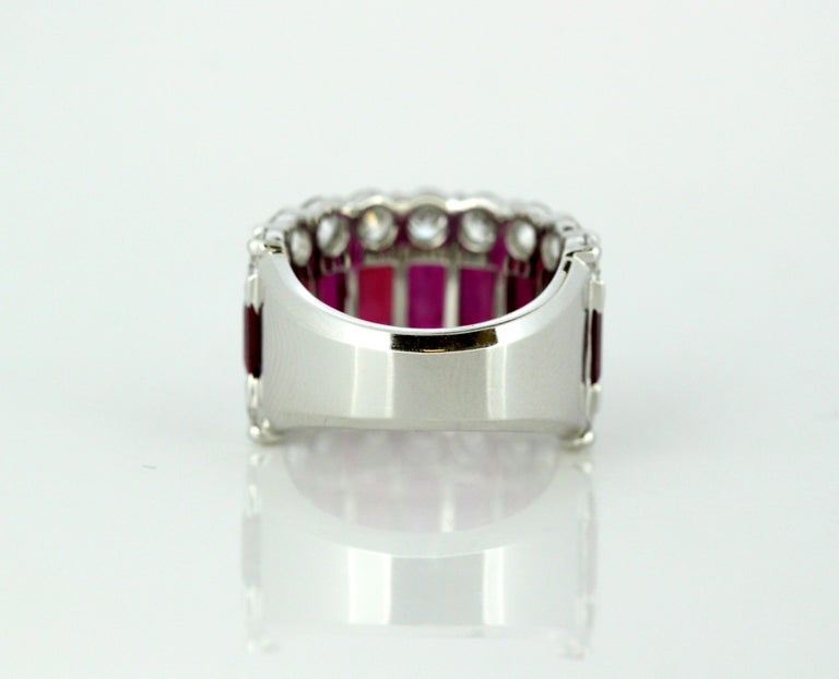 Women's 18 Karat Gold Ladies Half Eternity Ring with Natural Burmese Rubies and Diamonds For Sale