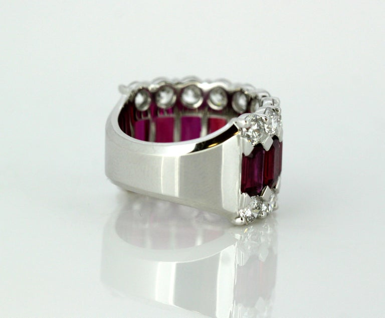 18 Karat Gold Ladies Half Eternity Ring with Natural Burmese Rubies and Diamonds For Sale 1