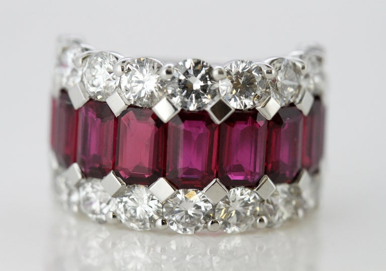 18 Karat Gold Ladies Half Eternity Ring with Natural Burmese Rubies and Diamonds For Sale 3