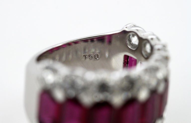 18 Karat Gold Ladies Half Eternity Ring with Natural Burmese Rubies and Diamonds For Sale 5