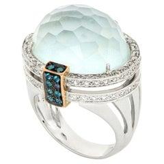 18kt White Gold Les Bonbons Paris Light Blue Quartz Cocktail Ring with Diamonds