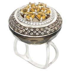 18kt White Gold Les Bonbons Rounded Brown Cocktail Ring with Diamonds