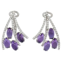 18kt White Gold Les Papillons Earrings with Purple Amethyst and Diamonds