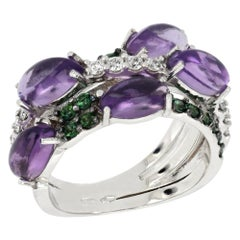 18kt White Gold Les Papillons Purple Amethyst Ring with Topazes and Diamonds