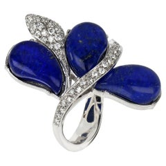 18kt White Gold Les Papillons Ring with Blue Lapis Lazuli Drops and Diamonds