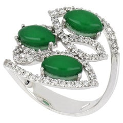 18kt White Gold Les Papillons Ring with Green Aventurine and Diamonds