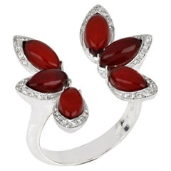 18kt White Gold Les Papillons Rings with Red Aventurine and Diamonds