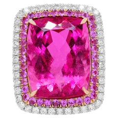 18kt White Gold Magnificent Pink Tourmaline Diamond Ring with Micropave Diamonds