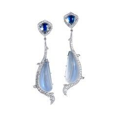 18kt White Gold Moonstone and Diamond Drop Earrings Handmade