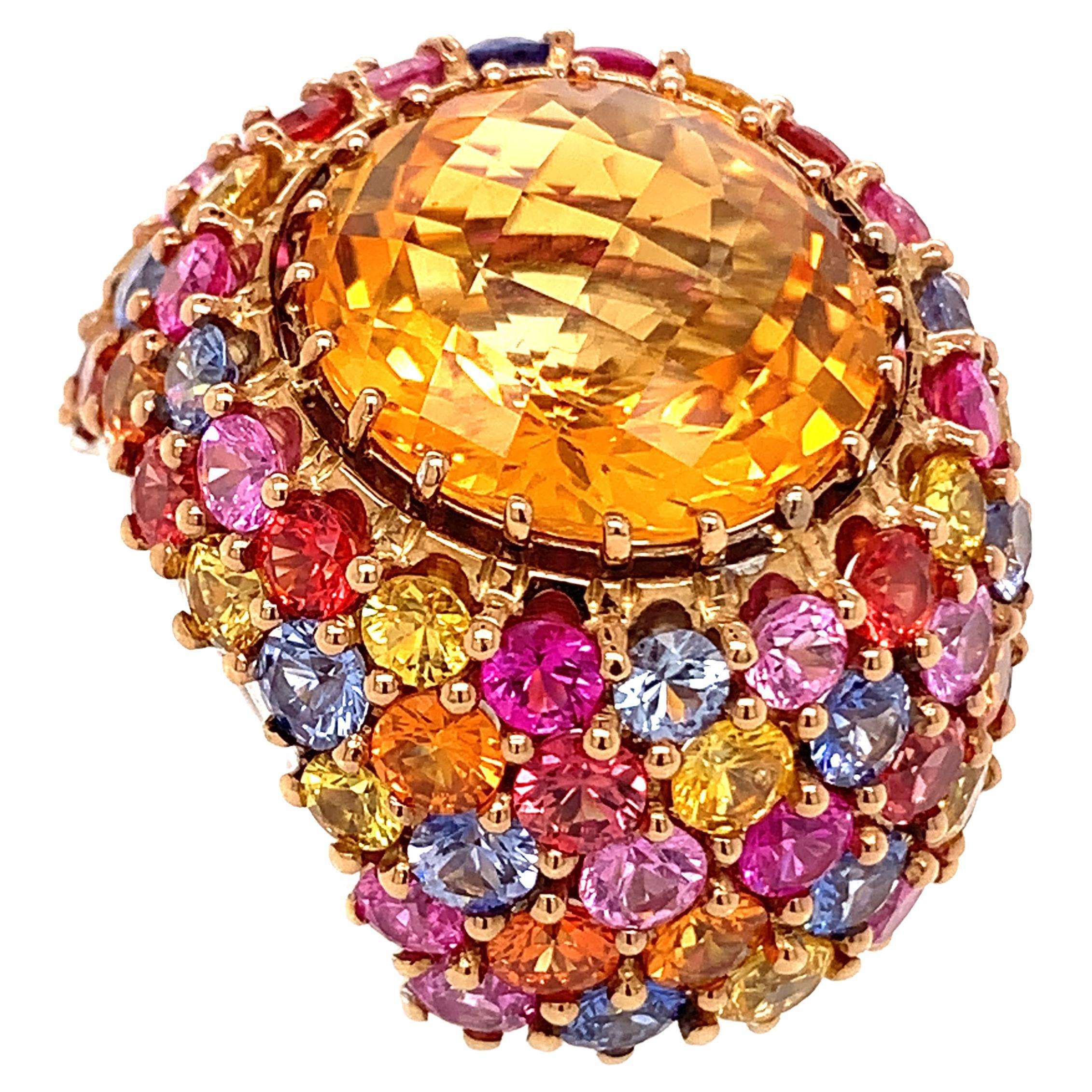 18kt White Gold One of a Kind Ring with 12 Ct Citrine and Multicolor Sapphires