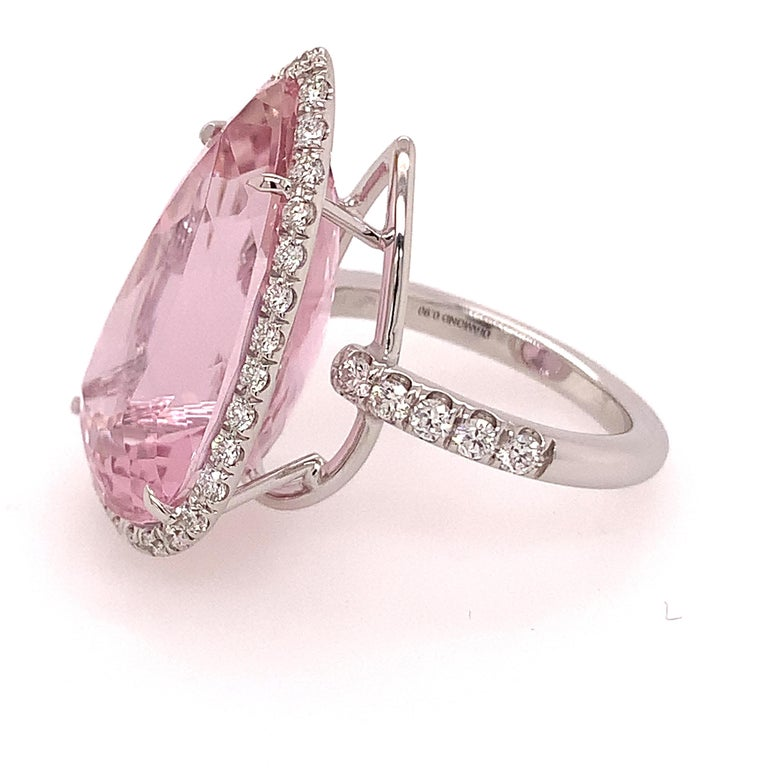 On sale on First Dibs only for 3 week.  This beautiful ring is a stunning piece created in Valenza.  18kt white gold grs 6,80  a beautiful pearshape kunzite ct 22,47 ,  and white diamonds  ct 0,90 Made In Italy in Valenza.  Dont miss a special sale
