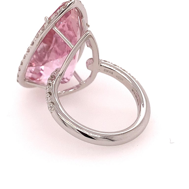Modern 18kt White Gold One of a Kind Ring with 22, Ct Kunzite and Diamonds For Sale