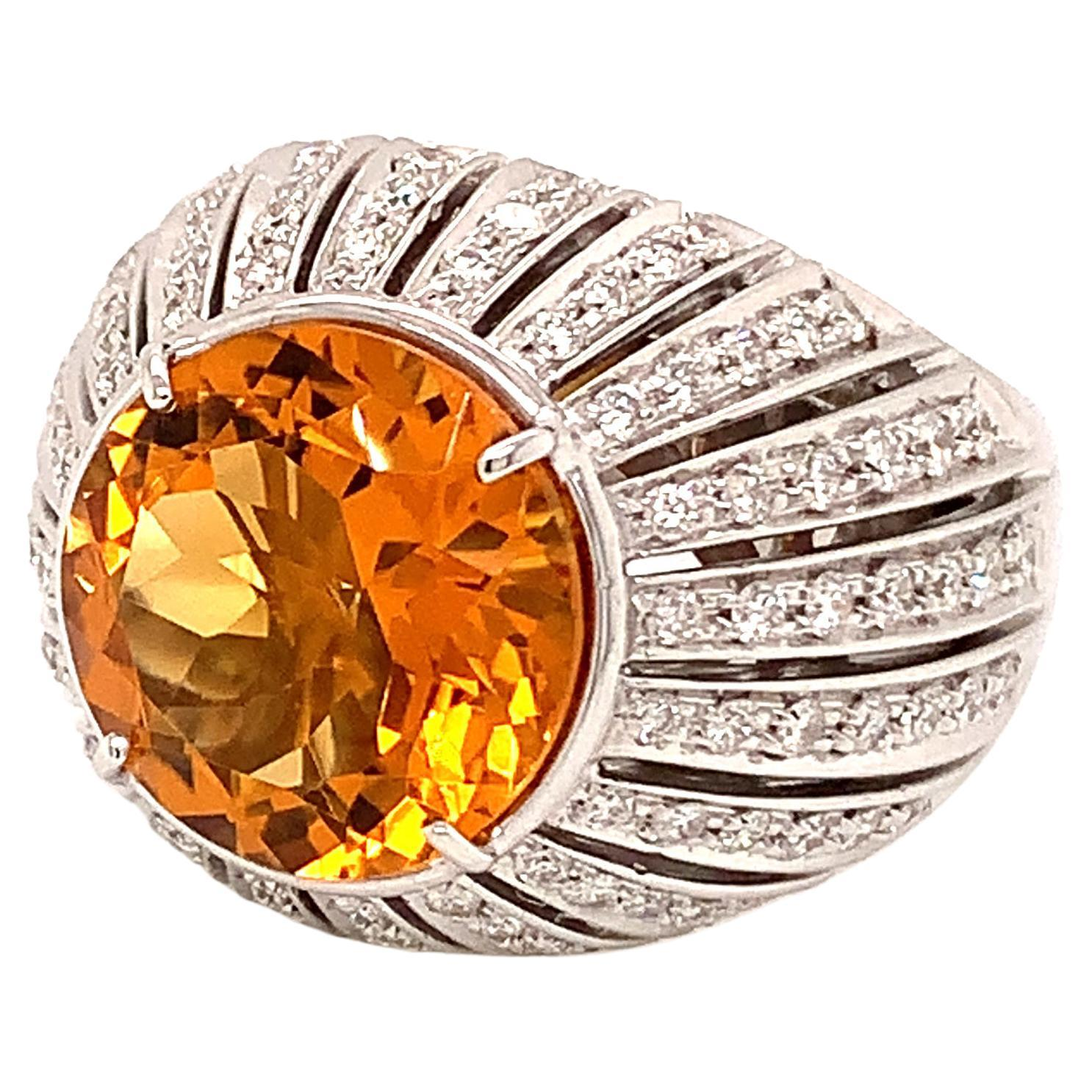 18kt White Gold One of a Kind Ring with 5 Ct Citrine and Diamonds