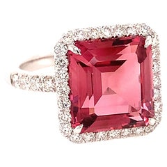 18kt White Gold One of A Kind Ring with Square Pink Tourmaline and Diamonds