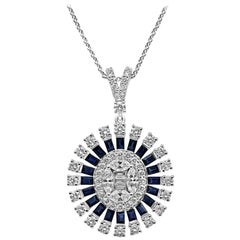 18Kt White Gold Oval Cluster Necklace Pendant  Diamonds and Sapphire Gemstones