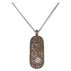 18kt White Gold Pendant, Necklace with 0.28 Ct White & 6 Ct Brown Diamonds