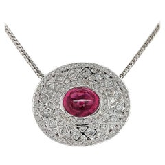 18Kt White Gold Pendant Necklace with 7.72 Ct. Pink Tourmaline, 5 Carat Diamonds
