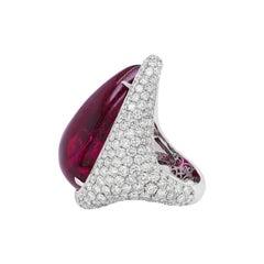 18kt White Gold Pink Tourmaline Cabochon Cut Diamond Ring