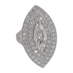 18kt White Gold Ring With Large 1.78 Carat Marquise Diamond & Brilliant Diamonds