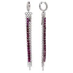 18 Karat White Gold Rubies and Diamonds Garavelli Long Earrings