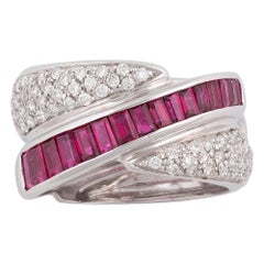 18 Karat White Gold Ruby and Diamond Crossover Ring