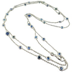 18kt White Gold Sapphires by the Yard Necklace