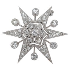18kt White Gold Star Shape Brooch/Pendant with 3.8ct Diamonds