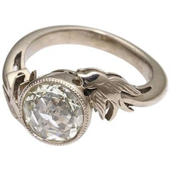 18kt White Gold Victorian Style Solitaire Ring with Swallows & Rose Cut Diamond
