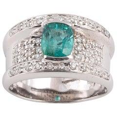 18 Karat White Gold Vintage Emerald and Diamond Ring