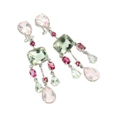 18Kt White Gold Whit Pink Tourmaline Green Amethyst Pink Quartz Earrings