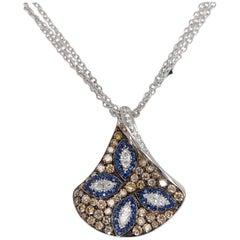 18kt White Gold, White & Brown Diamonds & Sapphire, Triangle Pendant Necklace